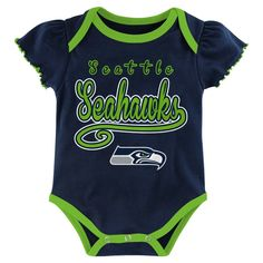 Child Bodysuits NFL Seattle Seahawks Team Color 6-9 M, Girl's, Multicolored White