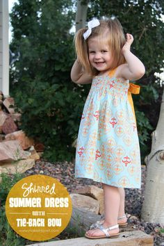 DIY Shirred Summer Dress, with Tie-Back Bow