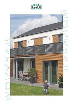 Unseren Aluzaun NOUVEAU gibt es auch als Balkongeländer! Vor allem in schlichten Farben wie Grau oder Anthrazit passen sich die trendigen Querlatten optimal modernen Baustilen an. Für absolute Privatsphäre gibt es unseren NOUVEAU auch als Sichtschutz! Aluminium, Fence Ideas, Balcony Ideas, Contemporary Design, Colors