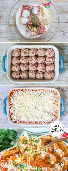 Baked Meatballs Parmesan  Easy Family Recipes<br> Ground Beef Recipes For Dinner, Dinner With Ground Beef, Ground Pork Recipes Easy, Baked Dinner Recipes, Ground Beef Recepies, Dinner Ideas With Hamburger, Keto Recipe With Ground Beef, Dinner Ideas For Family, Minced Beef Recipes Easy