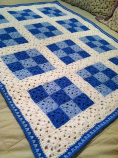 Crocheting: 9 Patch Baby Blanket for Boy