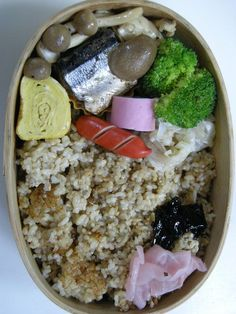 sweetened boiled saury   brown rice  20121112 Lunch