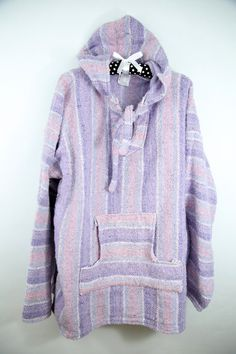 Vintage Pastel Mexican Sweater Poncho Pullover Hoodie Baja Hippie Boho XL