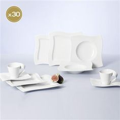 Villeroy and Boch New Wave Basic Dinnerware Set, White ** undefined Dinnerware Sets For 12, Square Dinnerware Set, Deck Oven, Knife Block Set, Villeroy, Program Design, One Light, Fine Dining, Waves
