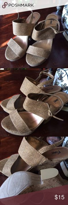 FIONI gold flecked wedge sandals 9w These gorgeous gold flecked sandals with cork wedge heels are very comfortable! NWOT FIONI Clothing Shoes Wedges