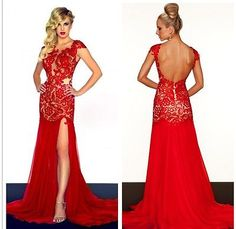 Red Lace Wedding Dress Open Back Bridal Gowns Size 4/6/8/10/12/14/16/18/20/22/