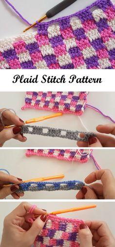 Crochet Plaid Stitch - Design Peak Crochet Plaid Stitch - Design Peak **Pics only, link leads to a different stitch, Learn the Tunisian Crochet SmockCrochet Plaid Stitch - tutorial and video (not in En)Messy Bun Hat Crochet Pattern: free crochet patt Beau Crochet, Stitch Crochet, Tunisian Crochet, Love Crochet, Knit Crochet, Plaid Crochet, Beautiful Crochet, Dishcloth Crochet, Crochet Afgans