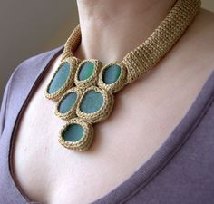 Unique beige brown necklace with 6 green sea glass  by astash, $95.00
