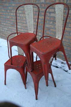 1930 Set of 4 French Vintage Industrial Red and Cream Tolix A Bistro Chairs in Original Paint.