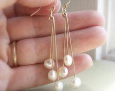 Coin pearl earrings, freshwater pearls, white, cream, gold earrings, dangle earrings