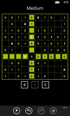 A medium Takuzu game in progress.  Please visit the Windows Phone store to download: http://www.windowsphone.com/s?appid=37cc5432-e7b6-46ea-9db6-0b6434bf0efd