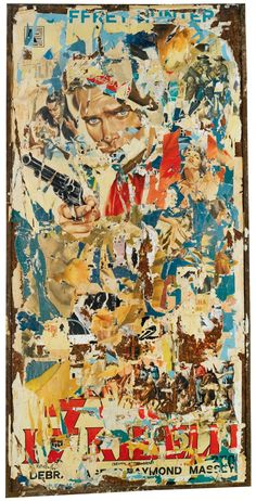 Mimmo Rotella Décollages made in the second half of the by appropriating and intervening street posters. Photomontage, Mixed Media Collage, Collage Art, Nouveau Realisme, Modern Art, Contemporary Art, Pop Art Artists, Collage Techniques, Collages