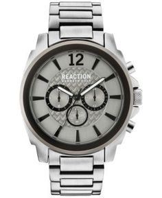 Kenneth Cole Reaction Men's Chronograph Stainless Steel Bracelet Watch 48mm 10031947 - Silver