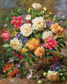Colorful Animal Flower Paint By Numbers Kits DIY Number Hand Canvas Oil Painting