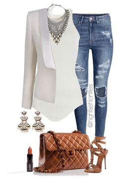 """Casual work Look"" by highfashionfiles ❤ liked on Polyvore featuring H&M, Chanel, Giuseppe Zanotti, Rick Owens, DYLANLEX, Balmain and Forever 21"