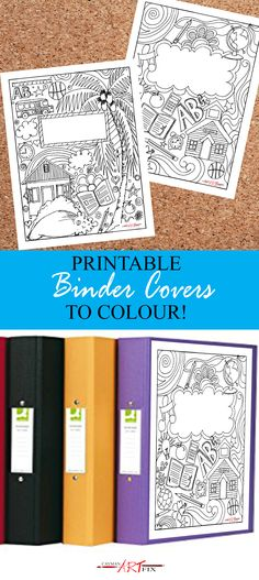 Printable Binder Covers you can Colour! #coloringpage #Binders #creativelife #Planners #Fun