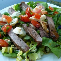 """Caprese Salad with Grilled Flank Steak I """"Fabulous! A perfect summer meal that's light, easy to make and tastes great without a ton of effort."""""""