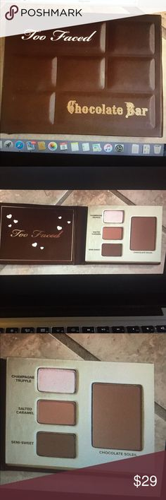 New Too Faced Chocolate Bar bite bronze shadow Brand new never used limited edition bite size chocolate bar with 3 eyeshadows and a chocolate 🍫 soleil bronzer this does smell like chocolate! Great for trying out too faced products and as an on the go palette! Smells like chocolate too. No trades Too Faced Makeup Eyeshadow