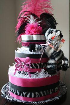 Hot Pink & Zebra Diaper Cake. $55.00, via Etsy.