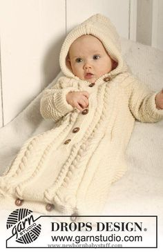 Baby Knitting Patterns BabyDROPS 19-10 - DROPS bunting bag with body and sleeves kn...