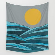The ocean, waves and sun Wall Tapestry by PELA - Small: x Wall Tapestries, Tapestry Wall Hanging, Wall Hangings, Tablecloths, Ocean Waves, Outdoor Walls, Hand Sewn, Vivid Colors