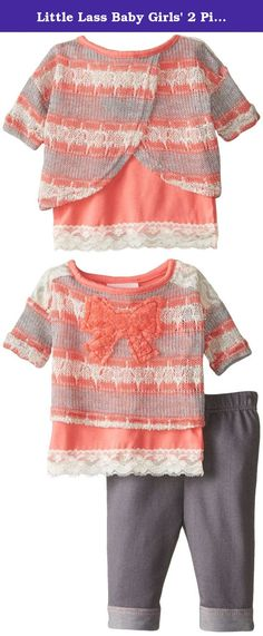 Little Lass Baby Girls' 2 Piece Legging Set Sweater Knit Gold Lurex, Coral, 6-9 Months. Little lass offers cute and comfortable styles with quality construction. She is adorable in this 2 piece legging set with a light weight printed novelty sweater knit with gold lurex, lace trim, solid tank, and grey knit denim legging.