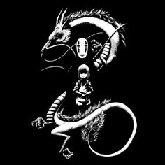 A Noir Spirit By Spicy Monocle, today at The Yetee! Spirited Away Dragon, Spirited Away Tattoo, Spirited Art, Castle Silhouette, Dragon Silhouette, Silhouette Cameo, Ghibli Tattoo, Totoro, Tatto Studio
