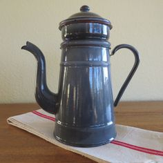 Vintage Pour Over Coffee Pot Vintage Enamelware Coffee Pot FRENCH. Melted Chocolate Brown Enamelware Coffee Pot Collectible Enamelware