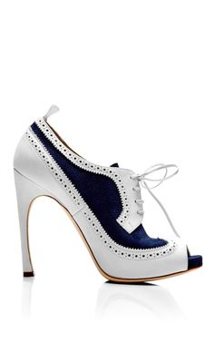 Shop Peep Toe Wingtip Brogue In Navy And White Nubuck Leather by Thom Browne for Preorder on Moda Operandi