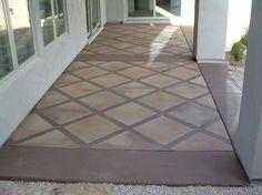 Earthy Browns Diagonal Tile Patio.  CONCRETE ART transforms plain concrete in Southern California.