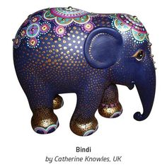 "Bindi' by Catherine Knowles from the UK ""I had my elephant for 10 months before I finally decided on a design. I chose gold and purple colours to give it a royal feel and and the design is redolent of the richly decorated elephants in asian culture. Colorful Elephant, Asian Elephant, Elephant Love, Elephant Art, Mandala Painting, Painting On Wood, All About Elephants, Owl Rocks, Elephant Home Decor"