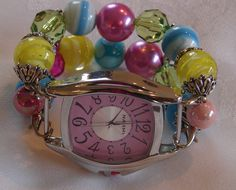 Bright and colorful chunky beaded watch band and by BeadsnTime, $30.00