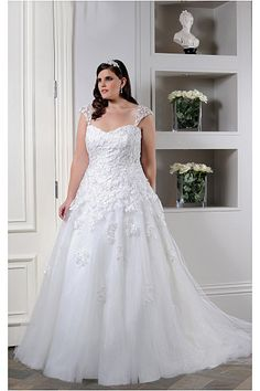Perfect Plus Size Empire Lace-up Ball Gown Cap Sleeves Wedding Dresses