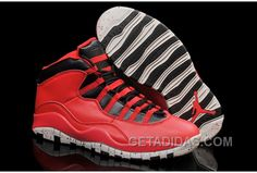 """6b56cce0993727 Air Jordans 10 """"Gym Red"""" Gym Red Black-Wolf Grey Shoes For Sale Authentic  XKEfYC"""