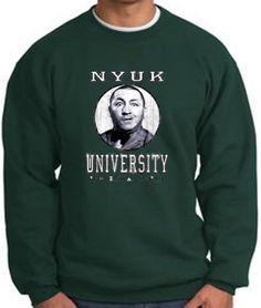 The Three 3 Stooges NYUK UNIVERSITY Funny Adult Sweatshirt - Dark Green 3XL