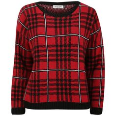 Moku Women's Checked Knit Jumper (42 BRL) ❤ liked on Polyvore featuring tops, sweaters, jumpers, shirts, red, knit sweater, plaid shirt, crew neck sweaters, red plaid sweater and long sleeve sweaters