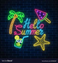 Neon summer poster with lettering and summer vector image on VectorStock Cute Black Wallpaper, Neon Wallpaper, Cute Wallpaper Backgrounds, Pretty Wallpapers, Summer Wallpaper, Vaporwave, Neon Words, Summer Signs, Summer Poster