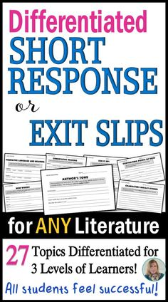 Quick, differentiated assessments for classwork, homework, or exit slips! 27 different standards-based topics are addressed in convenient half sheets. 81 response slips in all!
