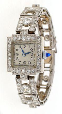 C 1920 Platinum 8 2cts Diamond Swiss Movement Ladies Watch | eBay