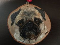 Items similar to Hand Painted Pet Portrait on Wood Slice - Mini Picture or Ornament on Etsy Wood Slices, Pet Portraits, Your Pet, Ornament, Arts And Crafts, Hand Painted, Holidays, Pets, Mini