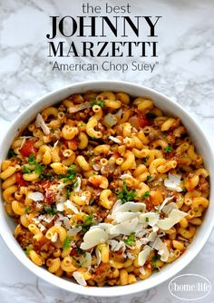 the best johnny marzetti recipe also known as american chop suey is a classic family favorite known by all via first home love life Rib Recipes, Pasta Recipes, Dinner Recipes, Cooking Recipes, Dinner Ideas, Beef Casserole, Casserole Recipes, Johnny Marzetti, Cooking