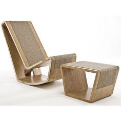Goldilocks Rocker & Footstool - JKK for Egg Designs Birch Ply, Egg Designs, Outdoor Chairs, Outdoor Decor, Steel Mesh, Display Case, Floor Chair, Lamp Light, Interior And Exterior