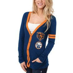 Chicago Bears Ladies Slub Button-Up Long Sleeve Cardigan - Navy Blue