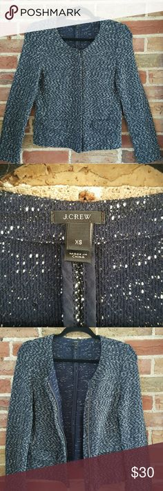 J. Crew Micro Tweed Womens Jacket Black and White Cute jacket with 2-way zipper and fashion pockets Can be worn to work or with jeans There is a tiny hole on the upper right shoulder, see pic 5 J. Crew Jackets & Coats Blazers