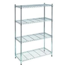 Best Chrome Storage Rack Organizer Kitchen Shelving Steel Wire Shelves - Products Lists of Tools and Hardware Wire Closet Shelving, Metal Storage Shelves, Steel Shelving Unit, Wire Shelving Units, Pantry Shelving, Shelving Design, Shelving Racks, Wire Storage, Kitchen Storage