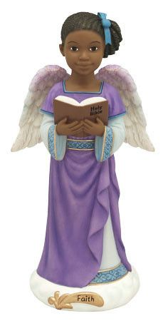 Angels of Inspiration Faith figurine. The Angels of Inspiration figurines are a delight to collect or to give as gifts. There are eight figurines in the set, so start your collection today. African American Figurines, African American Art, Christian Christmas, Black Christmas, Christmas Time, Black Figurines, Cherub Tattoo, Black Angels, Angels