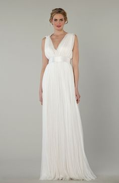 V-Neck A-Line Wedding Dress  with Natural Waist in Chiffon. Bridal Gown Style Number:33060260