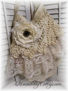 I have been busy creating more stockings~ Visit www.MarionberryCottage.com   Check out the new Gypsy Lace bags ...