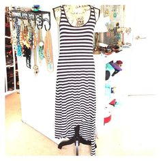 Michael Kors Maxi Dress NWOT Navy/White striped Michael Kors asymmetric bottom hem Maxi dress. Michael Kors Dresses Maxi