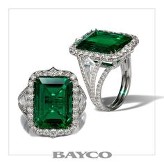 From The Ultimate Collection - A platinum ring centered upon a 9 carat emerald-cut old-mine Colombian emerald flanked by kite-shaped diamonds set within an intricate diamond micropavé design. Emerald Jewelry, Diamond Jewelry, Emerald Rings, Gold Jewellery, Modern Jewelry, Fine Jewelry, Unique Jewelry, Vintage Anniversary Rings, Colombian Emeralds